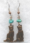 Collectible Cat Earrings, Brass & Turquoise