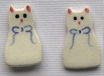 Collectible Cat Earrings, Ceramic, White Cat