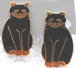 Collectible Cat Earrings, Clip, Seated Black Cat