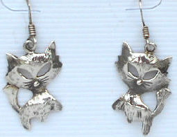 Collectible Cat Earrings, French Kitty, Silver