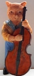 Collectible Cat Figurine, Cat And Double Bass