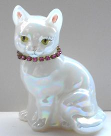 Collectible Cat Figure, Fenton Glass,  Sitting Cat