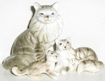 Collectible Cat Miniatures, Grey And White Striped Cats