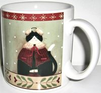 Collectible Holiday Cats Mug, Earmuffs, Red Trim