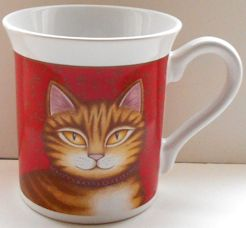 Collectible Cat Mug, Brown Striped Cat