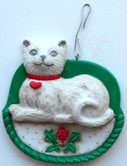 Collectible Cat Ornament, Cat With A Heart