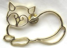 Collectible Cat Pin, Sitting Cat, Outline