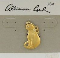 Collectible Cat Pin, Gold Tone, Sitting Kitten