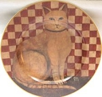 Collectible Cat Plate, Country Kitties, Orange Cat
