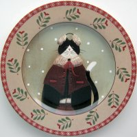 Collectible Cat Plate, Holiday Cats, Earmuffs, Red Trim