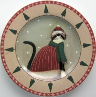 Collectible Cat Plate, Holiday Cats, Hat And Scarf, Red Trim