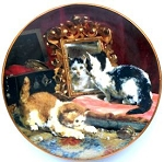 Collectible Cat Plate, Vanity Pair