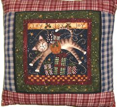 Collectible Christmas Cat Pillow, Joy