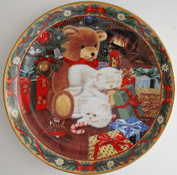 Collectible Christmas Cat Plate, Not A Creature Was Stirring