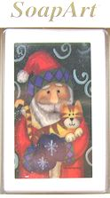 Collectible Christmas Cat Soap, Santa And Cat