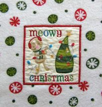 Collectible Holiday Hand Towel, Meowy Christmas
