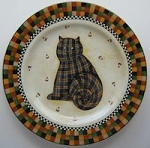 Collectibe Halloween Cat Plate, Quilted Cat, Debbie Mumm