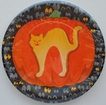 Collectible Halloween Cat Paper Plates, Fraidy Cat