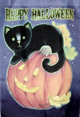 Collectible Halloween Flag, Cat On Top Of Pumpkin
