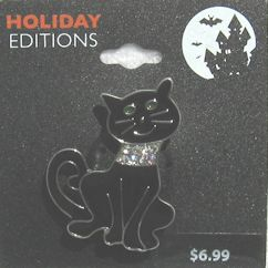 Collectible Halloween Cat Pin, Black Cat With Rhinestone Collar