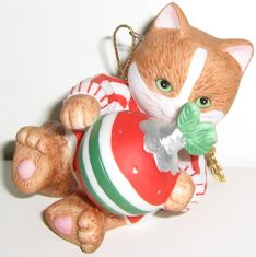Collectible Kitten Ornament, Kitten With Ornament