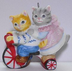 Collectible Kitty Cucumber Ornament, Two On Bicycle