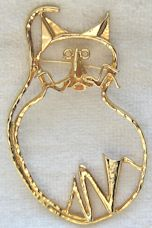 Collectible Large Cat Pin, Gold Tone