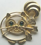 Collectible Large Cat Pin, Green Eyes