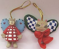 Collectible Mini Cat Ornaments, Country Cats