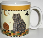 Collectible Halloween Cat Mug, Quilted Cat, Debbie Mumm