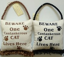 Door Pillow Or Sign, Beware Of One Cantankerous Cat