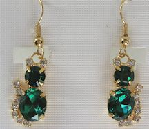 Cat Earrings, Green Rhinestones