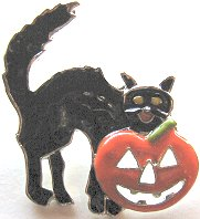 Collectible Halloween Cat And Pumpkin Pin