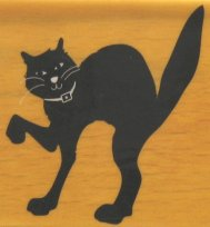 Halloween Cat Rubber Stamp