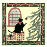 Gift Enclosure Card, Black Cat At Christmas Tree, Dozen