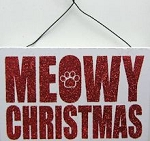 Holiday Cat Sign Or Cat Ornament, Meowy Christmas