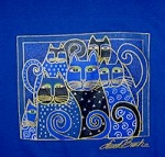 Laurel Burch Cat T Shirt, Indigo Cats, Small