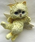 Kitten Christmas Ornament, Angel, Cream