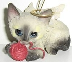Kitten Christmas Ornament, Angel, Siamese