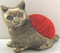 Kitten Pin Cushion, Brass