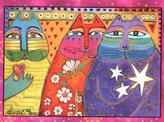 Laurel Burch Cat Birthday Card, Wishes