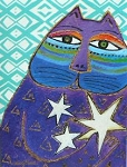 Laurel Burch Cat Birthday Card, Starry Cat