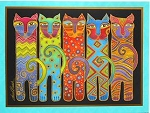 Laurel Burch Cat Birthday Card, Tall Cats