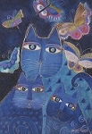 Laurel Burch Cat Magnet, Cats And Butterflies