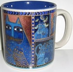 Laurel Burch Cat Mug, Indigo Cats