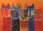 Laurel Burch Note Cards, Long Necked Cats