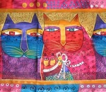 Laurel Burch Cat Scarf, Feline Family