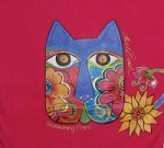 Laurel Burch Cat T Shirt, Blossoming Feline, Long Sleeve
