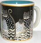 Laurel Burch Cat Mug, Polka Dot Cats