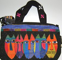 Laurel Burch Cat Purse Or Cat Handbag, Tribal Cats